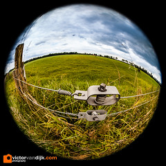 Fisheye landscape (Victor van Dijk (Thanks for 5M views!)) Tags: fisheye landscape grass green gras weiland field clouds wolken blue blauw 8mm 815mm wire fence draad fav fave faved favorite