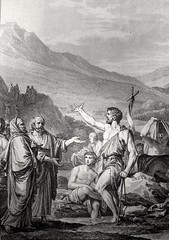 Phillip Medhurst presents John's Gospel: Bowyer Bible print 5268 John the Baptist testifies John 1:19-23 French School (Phillip Medhurst) Tags: johnthebaptist jordan riverjordan pharisee repentance baptism john johnsgospel gospelaccordingtojohn gospel jesus christ jesuschrist bowyerbible bible bibleillustration