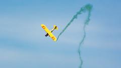 Jelly Belly Aerobatics (Ben_Senior) Tags: trenton ontario canada nikond7100 nikon d7100 quinte quinteairshow quinteinternationalairshow qias2016 qias 2016 plane airplane aircraft aviation airshow comedy jellybelly bensenior airbase cfbtrenton green smoke propeller truck landing aerobatics