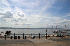West Kirby Wirral  230816 (21) (over 4 million views thank you) Tags: westkirby wirral lizcallan lizcallanphotography sea seaside beach sand sandy boats water islands people ben bordercollie dog beaches reflections canoes rocks causeway yachts outside landscape seascape
