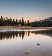 Reflections (MarcCooper_1950) Tags: mammoth lakes landscape outdoors scenery mountains trees lakeshore nikon d810 marccooper lightroom horseshoelake sunset dusk twilight moon reflections glow easternsierras