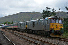73967 and 73969 Fort William 22/08/2016 (Brad Joyce 37) Tags: 73967 73969 class73 gbrf scotrail caledonian sleeper locomotive scotland fortwilliam doubleheaded diesel train passenger