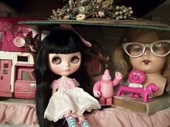 Pink........ (simplychictiques) Tags: blackcherrycustomblythedoll blythe ooakcustomizedblythedoll ravenhairs fringecut factorycustom factorydoll olyinwonderlandpinkeyechips childlike pink toys antiques bestdresseddolldress tonkatruck sweetpea