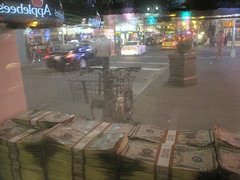 Narcos Bus Shelter Pile O Money AD 5226 (Brechtbug) Tags: narcos tv show bus stop shelter ad with piles slightly singed real fake money or is it 2016 nyc 09102016 midtown manhattan new york city 49th street 7th ave st avenue moola bogus
