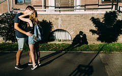 Look at the shadow (Berdnik Dmitriy) Tags: lovestory love happy home sweet lovely couple tatoo white black art 35mm guy girl kiss outdoor bloom flowers cute green light sun happiness laugh lol laughing smile architecture blue kiev blackandwhite