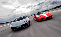 Racing down the runway (Philipp Lcke) Tags: race airport ferrari enzo lamborghini runway combo aventador lp700 grigioestoque philipplcke