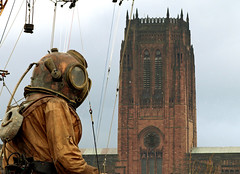 Devine diver (Mr Grimesdale) Tags: streetart liverpool giants merseyside liverpoolcathedral stevewallace seaodyssey mrgrimesdale