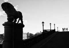 Silhouettes at the Royal Palace in Stockholm (joeriksson) Tags: city people monochrome silhouette stockholm lion lamps royalpalace