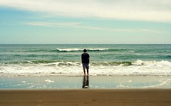 (Blurry Pixels) Tags: ocean blue beach waves alone brother wave calm reflect