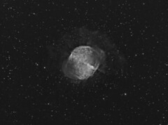 M27 The Dumbbell Nebula in H-Alpha (Terry Hancock www.downunderobservatory.com) Tags: camera sky color apple monochrome wheel night stars photography mono pier backyard fotografie photos space ngc shed science images astro m observatory telescope filter nebula astronomy imaging planetary messier ccd universe 27 cosmos technologies core pn constellation paramount luminance the teleskop astronomie dumbbell byo deepsky vulpecula 6853 starlightxpress flattener astrotech Astrometrydotnet:status=solved qhy5 Astrometrydotnet:version=14400 mks4000 qhy9m gt110s 10f8ritcheychrtienastrographat2field Astrometrydotnet:id=alpha20120631842397