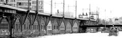 Here comes the train (Chris_1951) Tags: bw white black berlin train river boot boat traffic zug viaduct 7d spree verkehr schiff viadukt schwarzweis chris1951