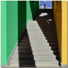 Temporary projections (Nespyxel) Tags: light sky colors square design stair shadows walk steps ombre walker scala colori zigzag luce projections geometrie gradini geometries proiezioni ponzanoromano nespyxel stefanoscarselli saariysqualitypictures