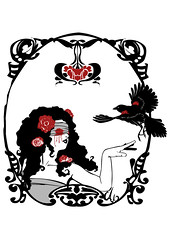 Red Blackbird (MarvinThaMartian) Tags: red roses italy woman black sexy art girl rose dark liberty blood blind song crow bloody nouveau raven vector blackbird vectorial alessandro merlo corvo blindfolded siger mannarino