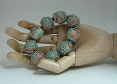 Uglies (debrossart) Tags: beads turquoise paste polymerclay bracelet copper patina gilders