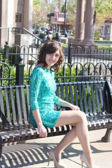 Erin (alyssarenaephotography.) Tags: trees girls green water fountain leaves fashion fence bench outside outdoors model women shoes downtown shoot dress branches cement steps makeup dresses heels bushes overgrowth