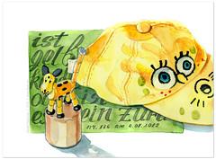 2012-07-04 (natalie_ratkovski) Tags: childhood yellow sketch sketchbook gelb kindheit kappe 365sketches natalieratkovski illustratedlife floatyde