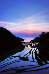 Parting Blue (www.jasonarney.com) Tags: blue sunset sun water japan spring twilight rice dusk farm  bluehour ricefield saga   kyushu  riceterrace           southjapan genkaitown jasonarney japanscapes soakedricefield shelvedricefield stackedricefield
