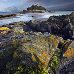 Mythical Land (Ray Bradshaw.) Tags: sea seascape landscape rocks cornwall stmichael smount