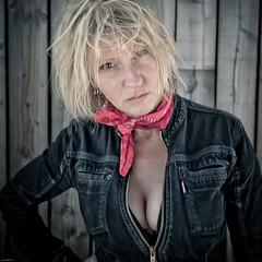 EASY RIDER (jean-fabien) Tags: portrait woman sexy girl rock female square fuji femme style charm blonde medium carr x100