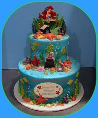 Ariel Little Mermaid Birthday Cake (Graceful Cake Creations) Tags: birthday sea shells ariel cake little starfish under cream butter mermaid littlemermaid underthesea