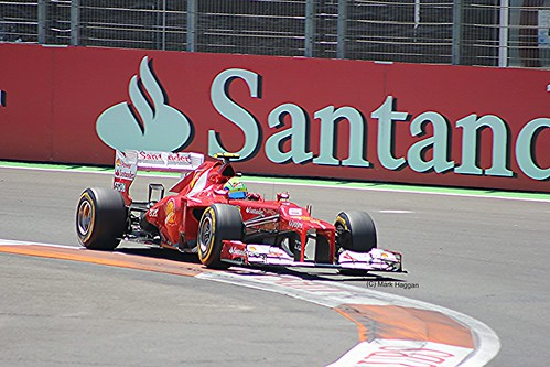 Felipe Massa in his Ferrari F1 car during the 2012 European Grand Prix in Valencia