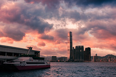 (timmytsang) Tags: sunset color ferry clouds canon hongkong sigma kowloon icc victoriahabour 2470 5dii