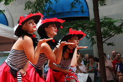 Bisous (agent j loves nyc) Tags: nyc newyorkcity dancers dancing manhattan cancan streetfair bastilleday 2012 cancandancers tittletattle bastilledaynyc