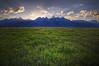 "Teton Grasslands Panorama (IronRodArt - Royce Bair (""Star Shooter"")) Tags: sunset panorama usa grass america landscape bravo scenic grandtetons tetons grassland tetonrange grandtetonnationalpark antelopeflats"