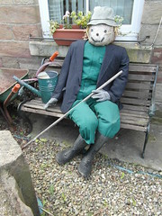 Fresh from the Fields (Munki Munki) Tags: hat festival buttons traditional straw wellies wateringcan wheelbarrow scarecrows nyorks sacking hinderwell july2012