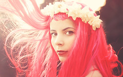 Wood's Witch (AnnuskA  - AnnA Theodora) Tags: pink light red roses white selfportrait hair intense eyes warm lips wig stare backlit lipstick