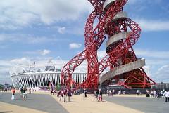 The Orbit & The Olympic Stadium (hobbitbrain) Tags: uk red england london tower architecture spiral athletics britain stadium bolt olympics ennis blake olympicstadium olympicpark orbit stratford closingceremony 2012 paralympics 100m olympicgames farrah london2012 teamgb theorbit pistorius davidweir arcelormittal jessicaennis usainbolt rushida mofarrah arcelormittalorbit yohanblake londonorbittower