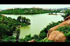 Durgam Cheruvu Lake from yet another Angle (Y-O-G-E-S-H) Tags: cloud lake water nikon stones secret hill bluesky hyderabad hitech durgam cheruvu d5100