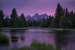 Schwabachers Landing (Jeremy Duguid) Tags: park trees sunset usa mountain snow mountains west color reflection nature colors night clouds river landscape evening colours hole dusk snake sony parks grand jeremy jackson national wyoming peaks teton tetons wy wetsern duguid landsacpes