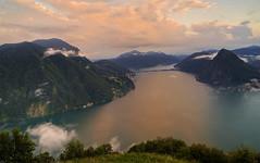 Soft sunset... (Alex Switzerland) Tags: landscape summer paesaggio sunset tramonto nubi cloud lugano luganese ticino switzerland svizzera schweiz tessin canon eos 6d