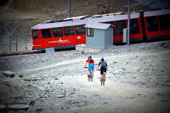 Unfair competition (Gornergrat, Switzerland) (armxesde) Tags: pentax k3 ricoh schweiz switzerland alpen alps berge mountains gornergrat gornergratbahn fahrrad bicycle