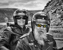 Aug 11 2016 - Wonderful couple we met on the Beartooth Highway (lazy_photog) Tags: lazy photog elliott photography sturgis south dakota black hills classic motorcycle rally races ride montana battle little bighorn cemetery red lodge beartooth mountains pass highway selective color couple wonderful rock creek vista point 081116us212tocrowagencybeartooth