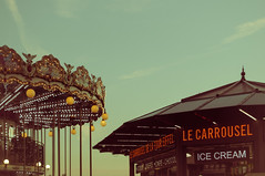 Mike Driscoll 2016 - Le Carrousel (Michael Driscoll Jr.) Tags: merrygoround carousel lights night lamps around vintage icecream france eiffeltower carnival ride concession stand decorative ornate sunset fun child childlike fair