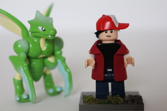 Pokmon_Red_2 (TH3_J03Y_G) Tags: lego custom minifigure video game fantasy scifi pokemon generation one rpg red blue scyther nintendo tomy auldey moc cape madness bricklink fabric coat fan art gamefreak