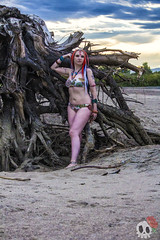 _MG_0028 (Deadly Darling DP) Tags: beach sand nature outdoors bakini dreadlocks gothic goth woman chick tattoos makeup tree roots driftwood log