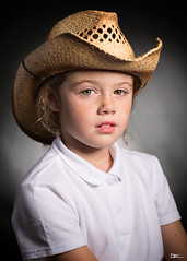 Cowgirl (Darren Frodsham) Tags: lilymaysinclair darrenfrodsham girl cowgirl portrait portraiture lighting studio strobes strobist strobelights beautydish hat indoors canon5dmarkiii canonef100mmf28lmacroisusm children child childportrait