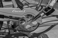 Pedal Power (Kool Cats Photography over 7 Million Views) Tags: pedal crank chain blackandwhite monochrome cruiser gear text