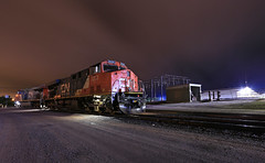 Nights at Esky (GLC 392) Tags: cn 2233 2281 ge es44dc es44ac gevo canadian national night sky clouds ore dock escanaba laying over rain quiet mi michigan railroad railway train