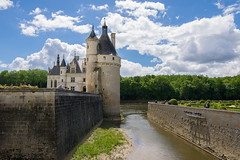 Chteau de Chenonceau on the Cher River (Lena and Igor) Tags: europe france travel chteaudechenonceau chenonceau chteau castle loire valley tower canal walls park sunny clouds blue sky scenic landscape architecture trees forest
