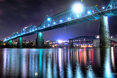 walnut street bridge (Chase Montgomery) Tags: bridge reflection chattanooga river lights nikon tn walnutstreetbridge hdr 18mm d90