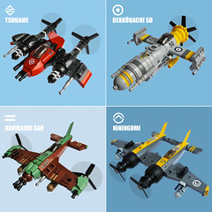 Sky Fighters Roundup 3 (Fredoichi) Tags: plane lego space military micro shooter shootemup skyfi shmup microscale dieselpunk skyfighter fredoichi
