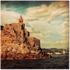 San Pietro dal mare (in eva vae) Tags: old sea texture church clouds canon vintage boats twilight rocks warm liguria cape romanesque portovenere squared lightroom eos500d inevavae