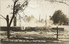 SW Scotts MI DISASTER FIRE RPPC 1911 Kalamazoo County Terrible Fire Village in Ruins Photographer Unknown Unsent Card (UpNorth Memories - Donald (Don) Harrison) Tags: travel canada heritage history tourism ferry vintage michigan postcard memories upnorth freighters disasters upnorthmemories donharrison rppc