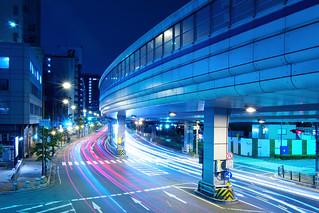 The Line of Cars Light - Kobe Night View