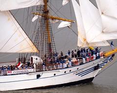 Parade of Sail on the Hudson River, OpSail 2012 and Fleet Week New York (jag9889) Tags: city nyc sea ny newyork history training indonesia boat kri ship manhattan military ships banner navy sa