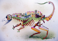 Bristol Theropod (andy council) Tags: city trees houses detail art andy monster architecture illustration buildings painting bristol town dinosaur drawing concorde council spraypaint bristolzoo cabottower theropod andycouncil
